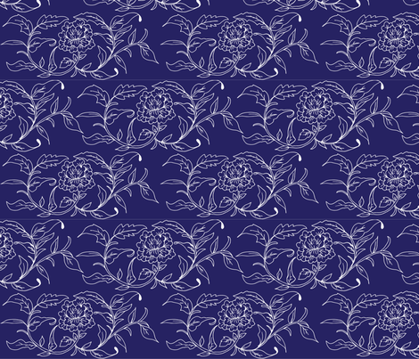 Chinoiserie Blue Floral Tile fabric by szstudio on Spoonflower - custom fabric