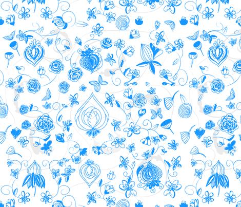 Blue Chinoiserie fabric by stasiajahadi on Spoonflower - custom fabric