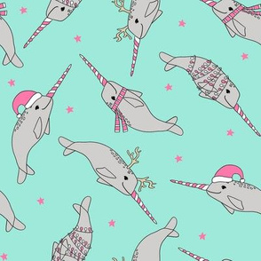 christmas narwhal fabric // - christmas fabric by the yard, christmas fabric, narwhal fabric, cute christmas fabric, narwhal santa fabric, santa fabric, andrea lauren fabric - pink and mint