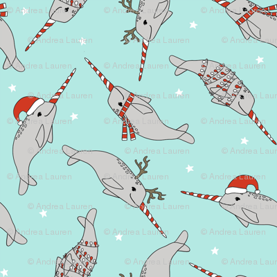 christmas narwhal fabric // - christmas fabric by the yard, christmas fabric, narwhal fabric, cute christmas fabric, narwhal santa fabric, santa fabric, andrea lauren fabric - light