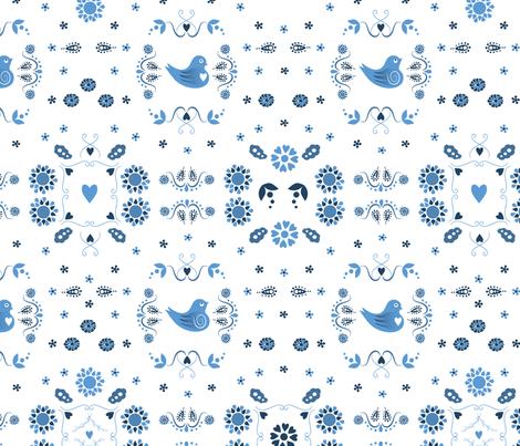 Song Bird Blue fabric by applebutterpattycake on Spoonflower - custom fabric