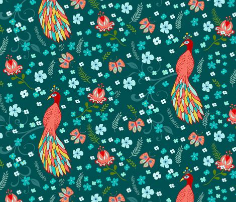 Chinoiserie Peacock Pattern fabric by valeriehart on Spoonflower - custom fabric