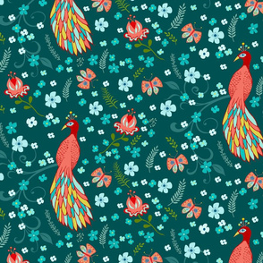 Chinoiserie Peacock Pattern