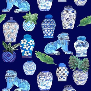 Chinoiserie Ginger jars & Foo dogs, blue and white.