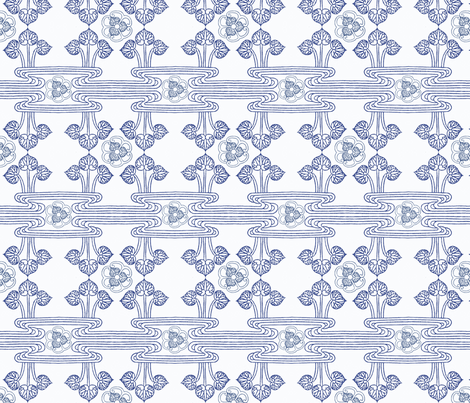 Chinese motifs Wave and Lotus**  fabric by ej_molnar on Spoonflower - custom fabric