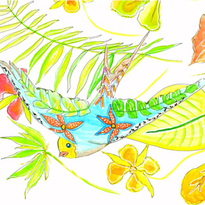 colorful bird with flora