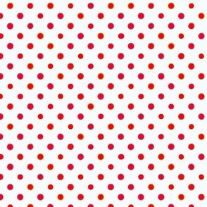 White polka dot pattern with orange & pink circular rings