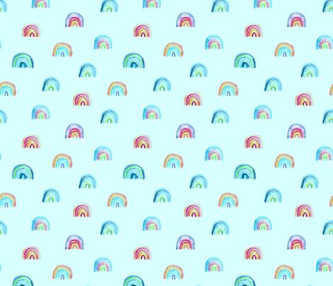Watercolor rainbow on mint fabric by katerinaizotova on Spoonflower - custom fabric