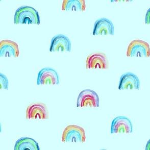 Watercolor rainbow on mint