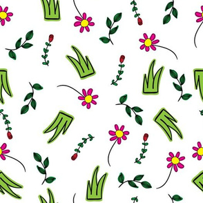 Doodle flowers, leaves and grass clumps