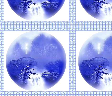 Two Waterfalls -- A Chinese Landscape fabric by uberdesigns on Spoonflower - custom fabric