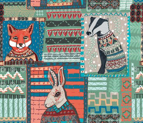 Fair Isle Pattern Pals fabric by slumbermonkey on Spoonflower - custom fabric