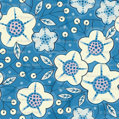 Chinoise blue floral