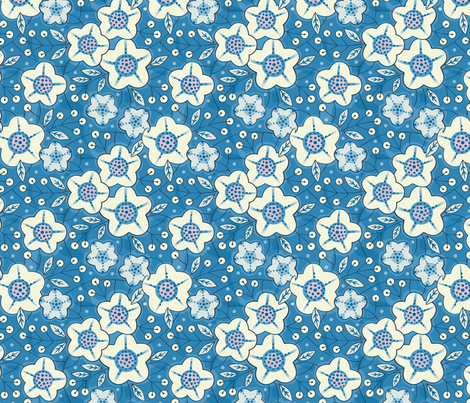 Chinoise blue floral fabric by lily_studio on Spoonflower - custom fabric