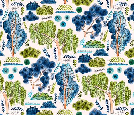 Cute Watercolor Chinoiserie Garden  fabric by tigatiga on Spoonflower - custom fabric