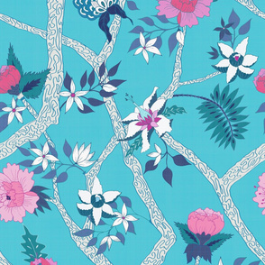 Deluxe Turquoise Peony Branch Mural