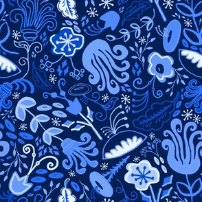 Midnight Garden Vintage Floral Chinoiserie // Royal Blue + Moonlight