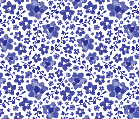 Blue Meadow Chinoserie fabric by butterfly_cactus on Spoonflower - custom fabric