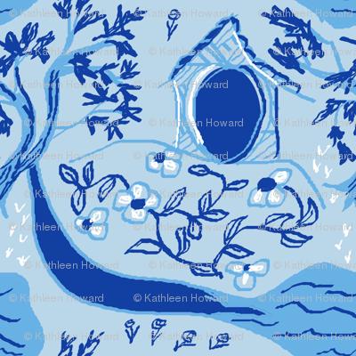 blue garden scene seamlessB