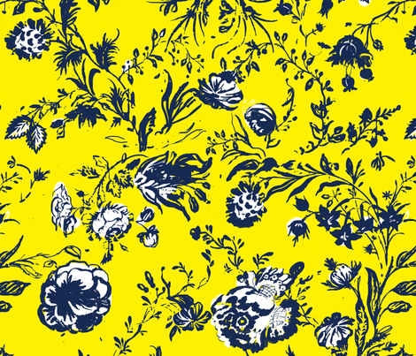 Yellow &  Blue Chinoiserie fabric by alison_janssen on Spoonflower - custom fabric