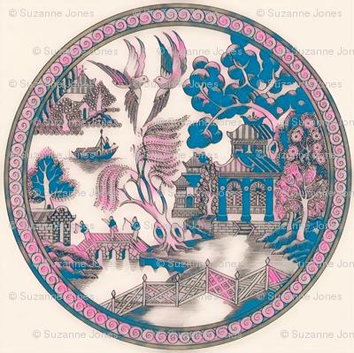 Pink metallic Willow PATTERN