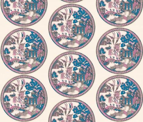 Pink metallic Willow PATTERN fabric by heckadoodledo on Spoonflower - custom fabric