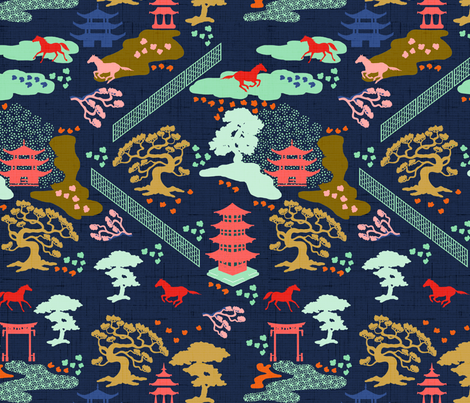 Roaming Horses Chinoiserie fabric by cooper+craft on Spoonflower - custom fabric