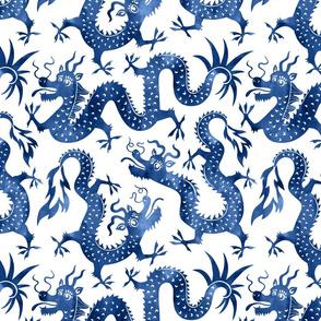 Chinese dragons jumbo blue watercolors