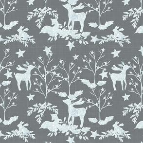 Snow White Deer On Gray