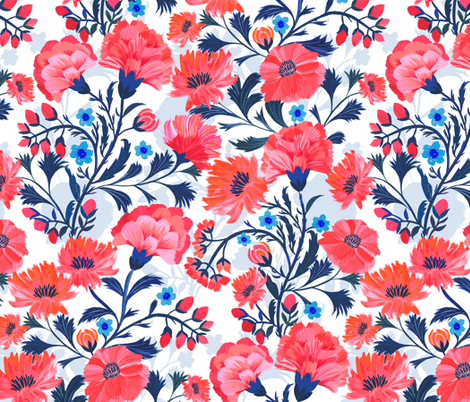 Chinese Floral fabric by jill_o_connor on Spoonflower - custom fabric