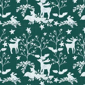 Snow White Deer On Green