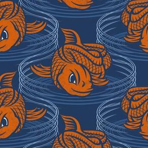 ★ KOI FISH INVASION ★ Navy Blue & Orange - Large Scale / Collection : Japanese Koi Block Print
