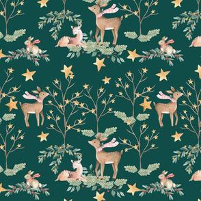 Christmas Deer On Green