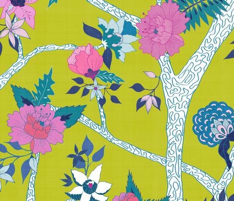 Deluxe Citron Peony Branch Mural fabric by danika_herrick on Spoonflower - custom fabric
