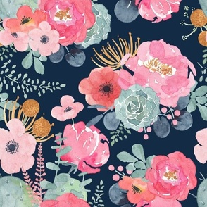 Navy Watercolor Floral - Pink Peony - Succulent - Large