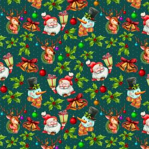 Retro Happy Christmas Green
