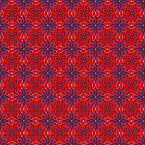 Blue lined flowers on red