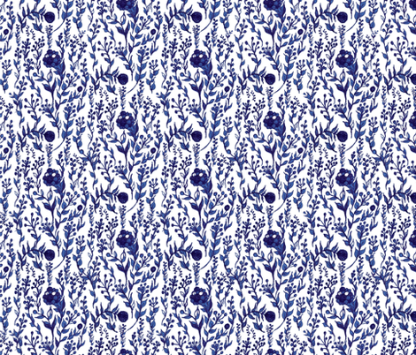 blue ink doodle flowers fabric by arrpdesign on Spoonflower - custom fabric