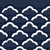 Deep navy fan pattern