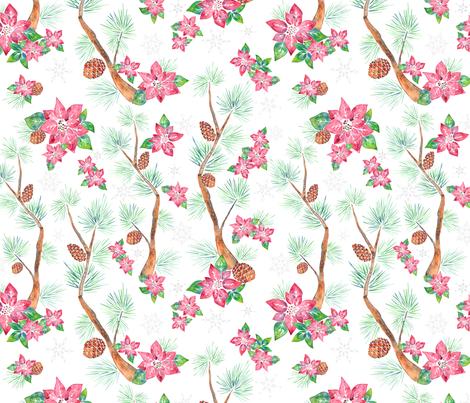 Christmas Chinoiserie fabric by abearcub on Spoonflower - custom fabric
