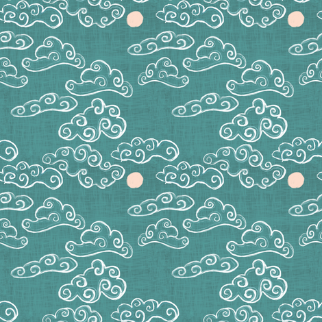 Cloud, sky on green - chinoiserie style fabric by jjdesignwithlove on Spoonflower - custom fabric