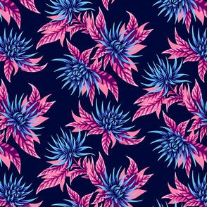 Chrysanthemums - Navy / Peach