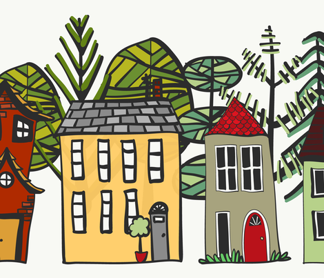 Doodle Houses Border wallpaper - sarahjwhyte - Spoonflower