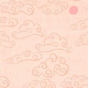 Cloud, sky on peach - chinoiserie style