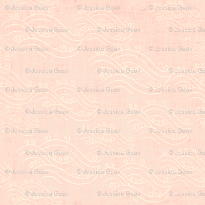 River on peach linen texture - chinoiserie style