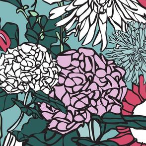 Pop Floral in Blues, Greens & Light Violet