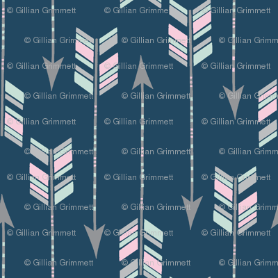 Chevron Arrows in Spearmint, Pink and Grey on a Navy background.