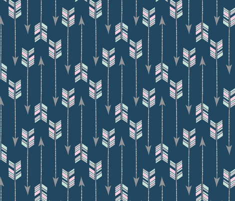 Chevron Arrows in Spearmint, Pink and Grey on a Navy background. fabric by red_raspberry_designs on Spoonflower - custom fabric