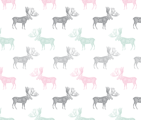 Moose Multi on white fabric by red_raspberry_designs on Spoonflower - custom fabric