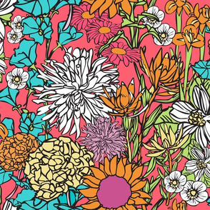 Pop Floral in Pink, Blue, Orange etc